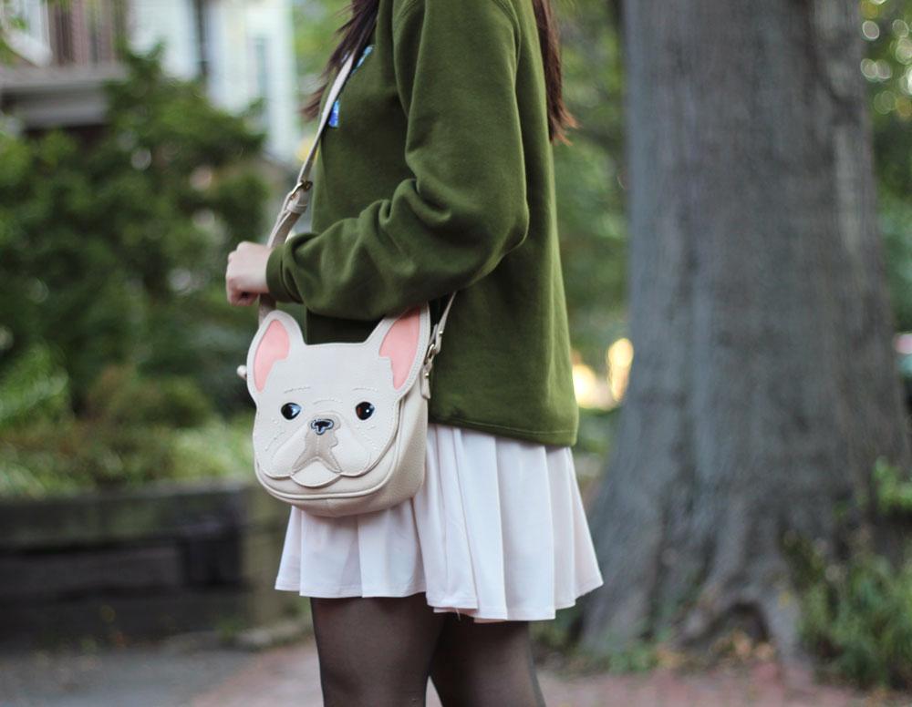 Puppy face crossbody bag purse
