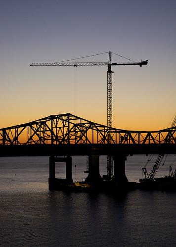 bridge blue sunset orange silhouette outdoors twilight construction crane kentucky clear louisville