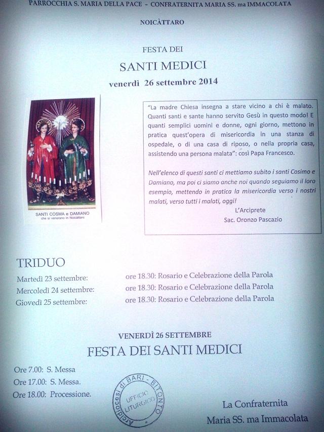Noicattaro. I Santi Medici programma