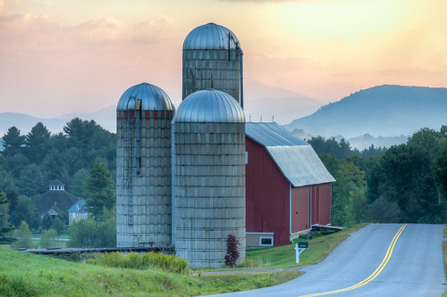 barn fog forest hdr highdynamicrange mountains road roundbarn silo sunrise trees vermont vt waitsfield unitedstates