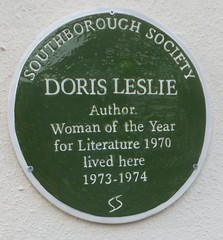 Photo of Doris Leslie green plaque