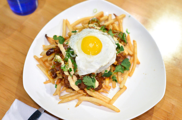 Oxtail Chili Cheese Fries Garlic Aioli, Fried Egg