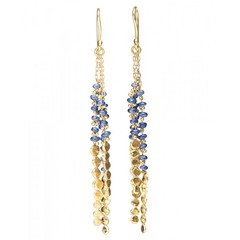 Nugget Blue Sapphire Rod Earrings