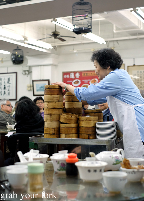 Towers of bamboo steamers on the yum cha trolley at Lin Heung Tea House in Central, Hong Kong