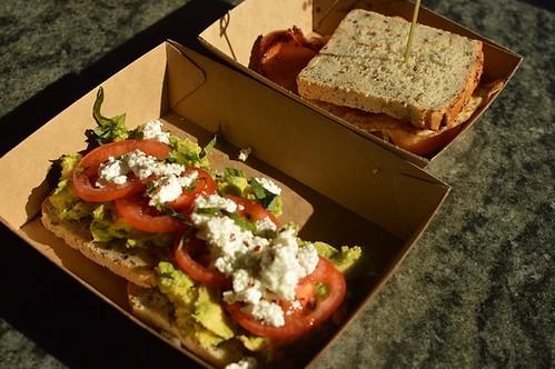 The Grounds of Alexandria: Smashed avocado on GF toast, bacon & egg roll (GF)