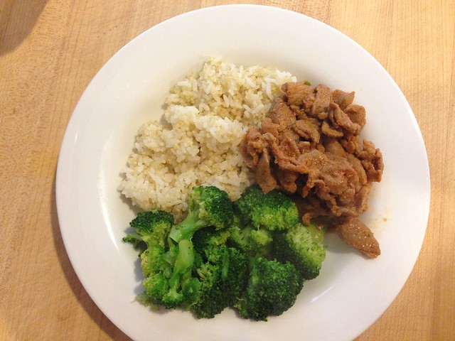 rice/quinoa, pork bulgogi, broccoli