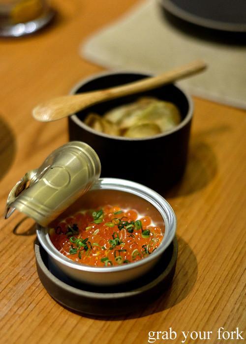 Ikura salmon roe with creme fraiche and yuzu at Ronin, Hong Kong