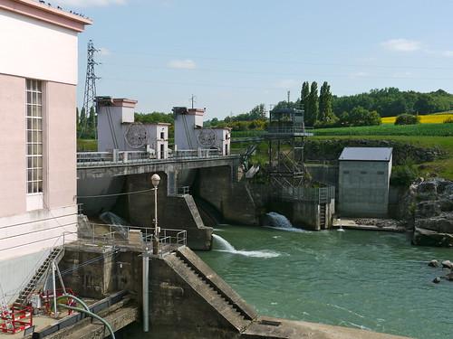 Baigts-de-Béarn: barrage sur le Gave de Pau à l'ouest d'Orthez, 1943.