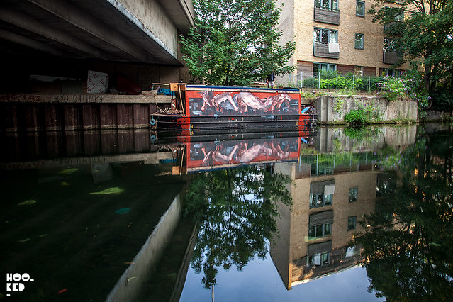 Spanish artist Borondo redecorates a Narrowboat in Hackney Wick, London