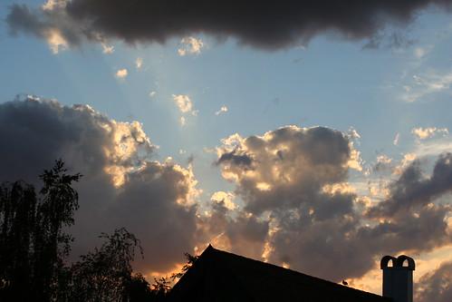 clouds evening shining
