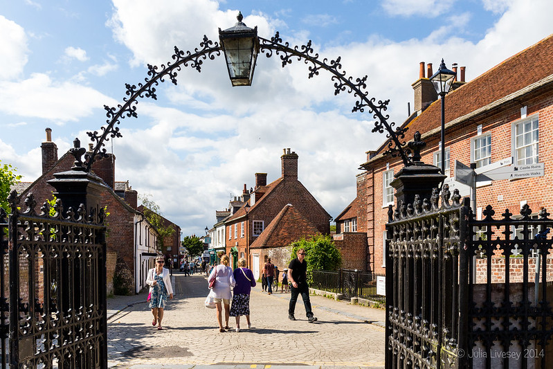 Exiting the Priory gate into the High Street