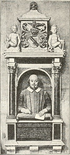 The Shakespeare Monument as it has appeared since the 18th Century and can be seen today in Holy Trinity Church, Stratford