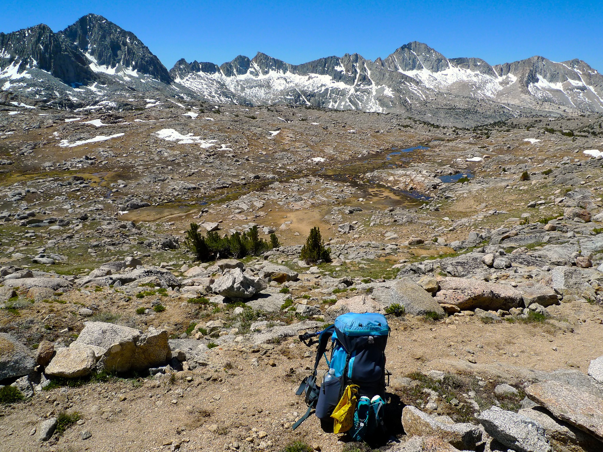 The pee bandana flying triumphantly on my pack in Dusy Basin