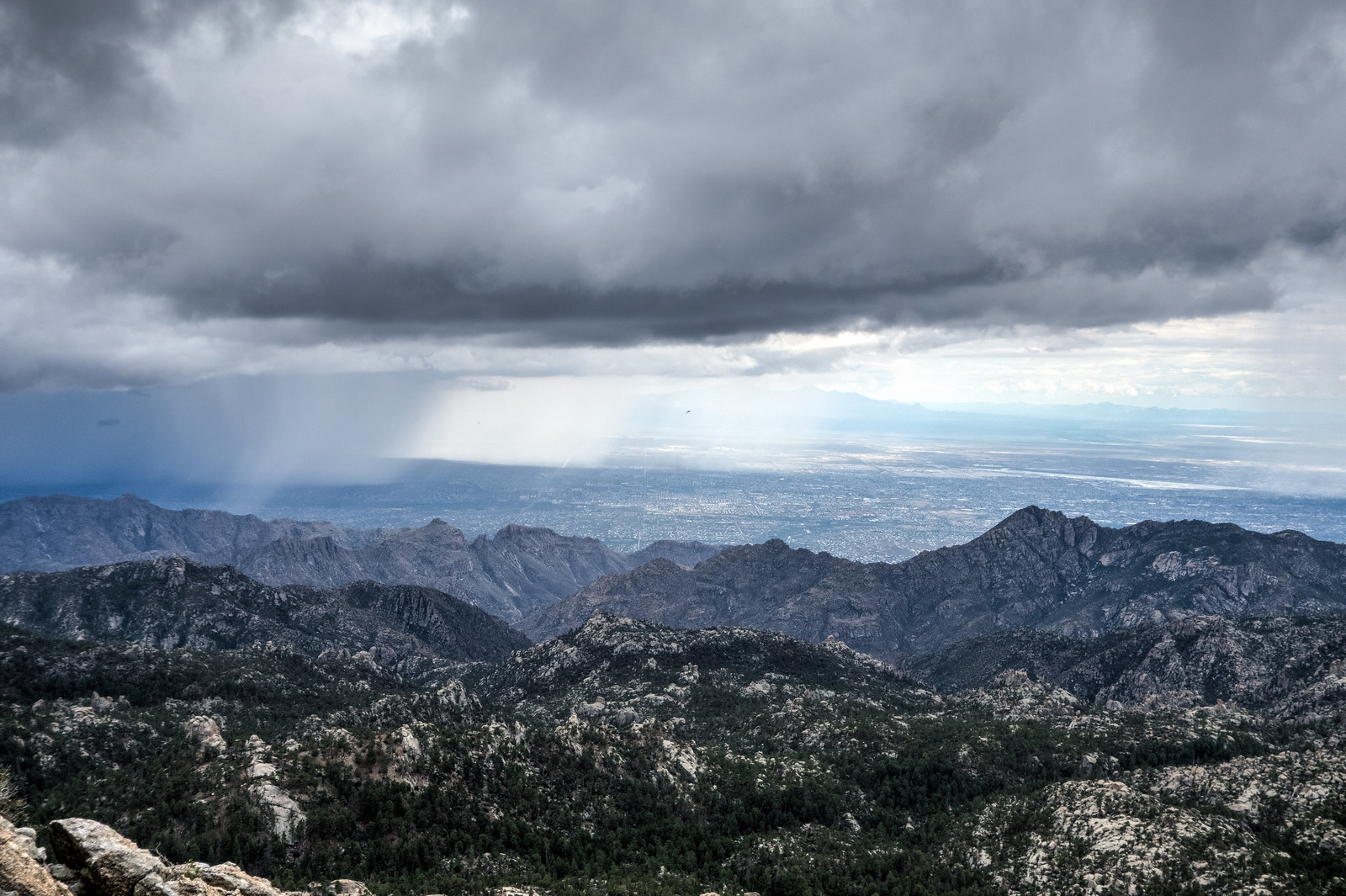 1408 Clouds Sun and Curtains of Rain from below the Lemmon Rock Lookout