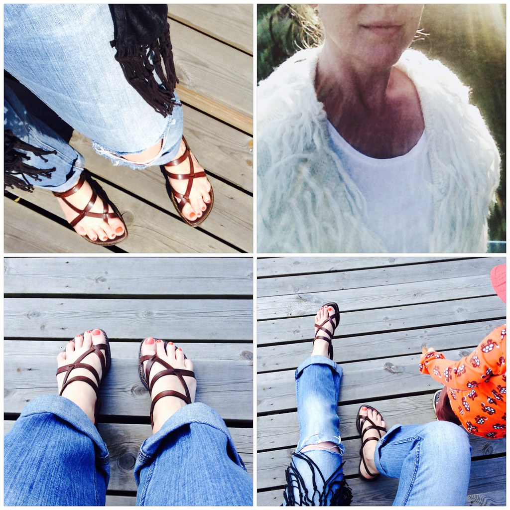 Boyfriend jeans and strappy sandals