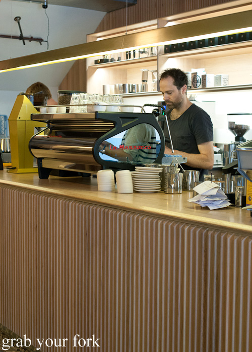 La Marzocco espresso machine at Dukes Coffee Roasters on Flinders Lane, Melbourne