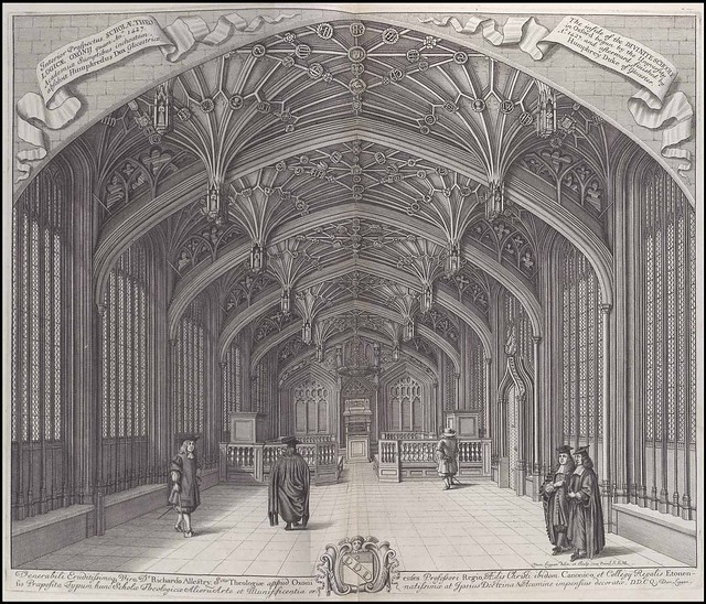 High arched interior of Oxford University building, 17th century