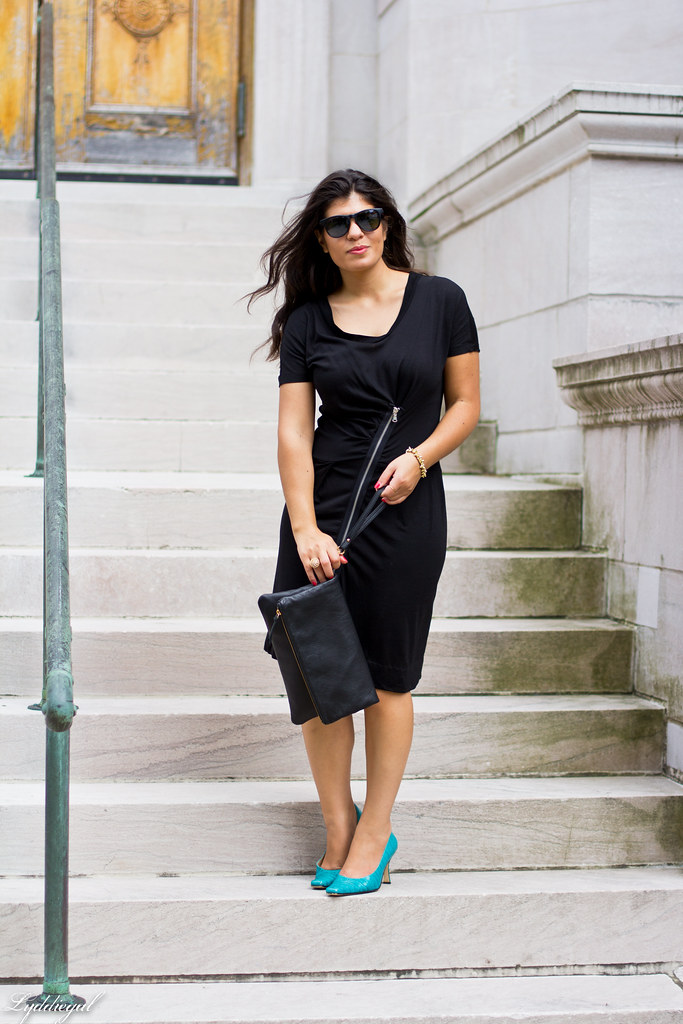 Black Marc Jacobs Dress, Turquoise Pumps-1.jpg