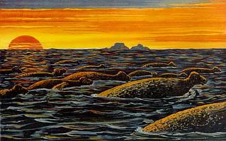 1902年畫的大海牛群油畫。圖片來源:維基百科