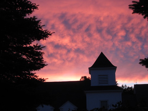 pink trees sunset sky tower clouds dusk newhampshire wolfebobonh