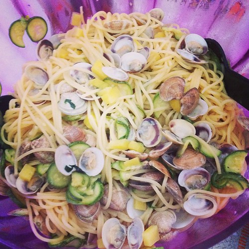 Spaghetti vongole zucchine patate #food #instafood