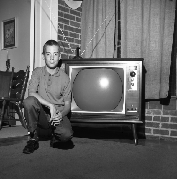 Michael Hurley with his new color TV set - Tallahassee