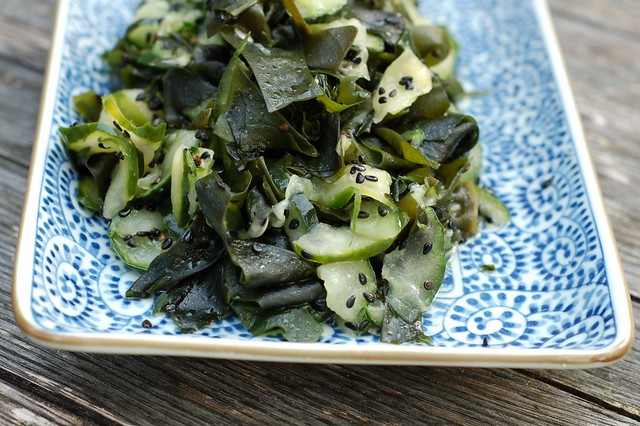 Wakame kyuri so (seaweed cucumber salad) by Eve Fox, The Garden of Eating, copyright 2014
