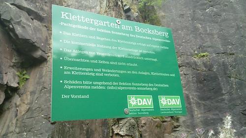 Klettergarten am Bocksberg - Hinweistafel