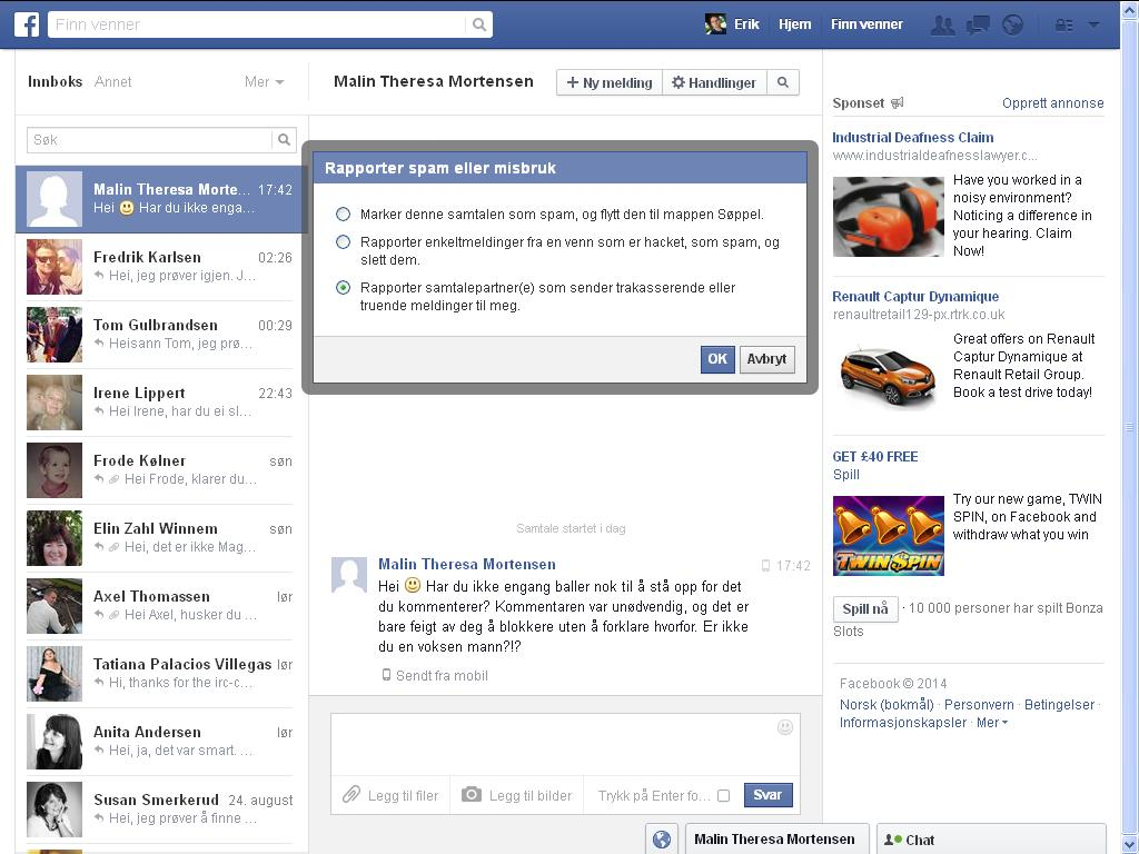 rapporter facebook