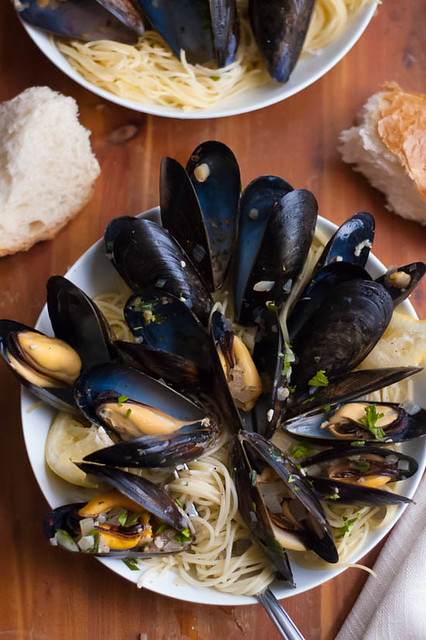 mussels and angel hair pasta