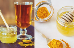 Cup of tea with honey and turmeric for  detox drin…