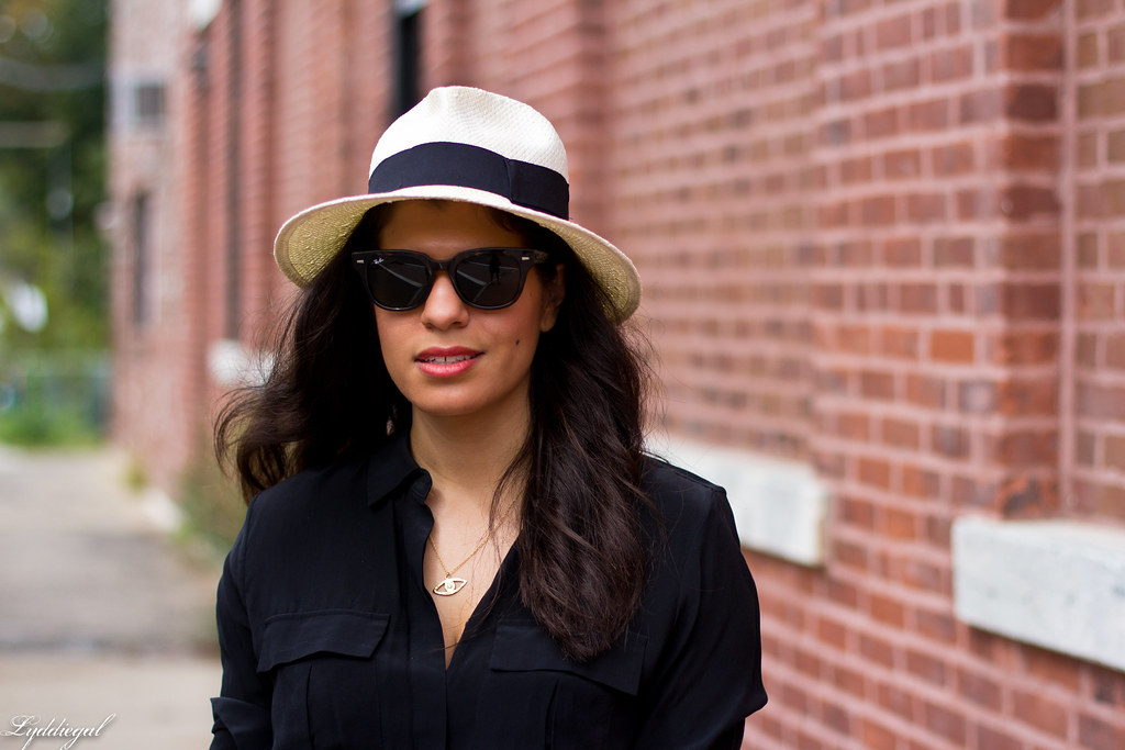 black blouse, printed skirt, panama hat.jpg