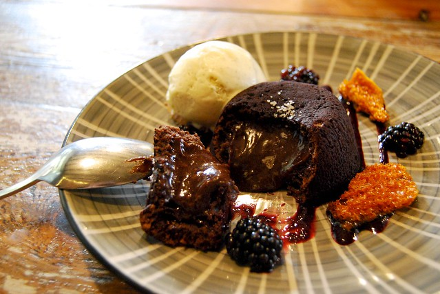 Chocolate Fondant with Honeycomb & Blackberries at Salt, Canterbury