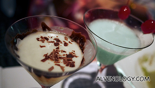 Grasshopper | Creme de menthe, creme de cacao white, milk, $18++ and Chocolatini | Vodka, white chocolate sauce, green apple syrup, creme de cacao white, $15 ++ (Price for the day), $18 ++ (Regular Price)