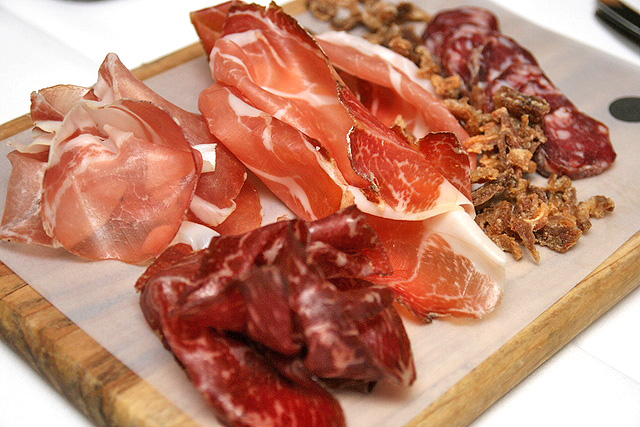 AFFETTATO (AU$29) - cured platter including Cacciatorini, Lonza, Speck, Wagyu Bresaola and Crispy Pig Ears