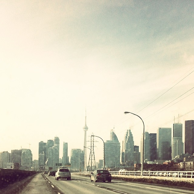 Toronto skyline, from the Gardiner towards downtown