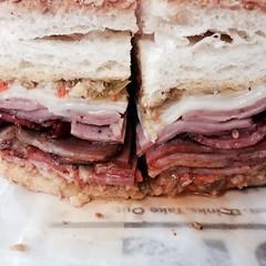 sandwich, meal, pork, muffuletta, meat, food, dish, cuisine,