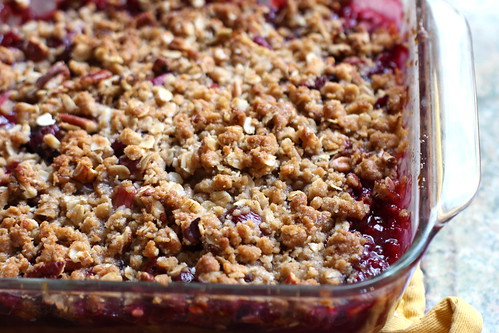 cherry rhubarb crisp, close-up
