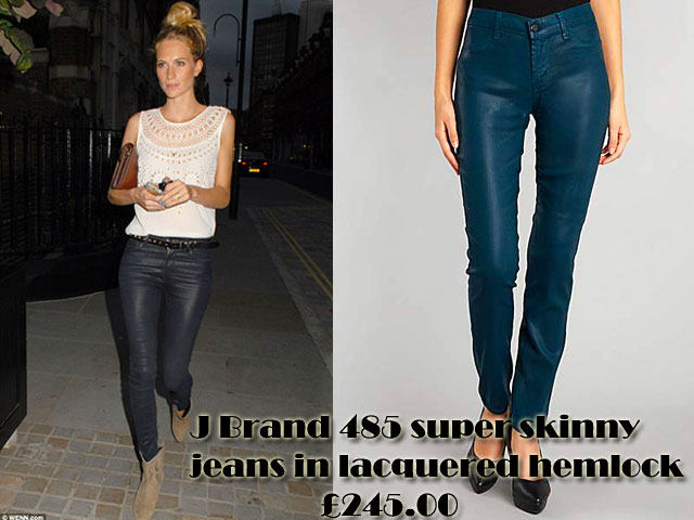 J-Brand-485-super-skinny-jeans-in-lacquered-hemlock,figure-hugging jeans, super skinny jeans, white sleeveless top, black studded belt, cowboy style boots, lacquered hemlock jeans