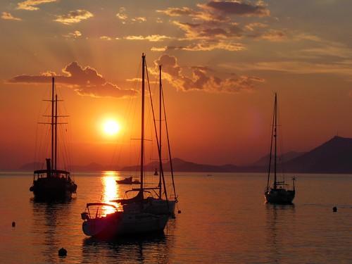 sunset sun de soleil boat coucher croatia bateau cavtat croatie hrvatska flickraward flickraward5
