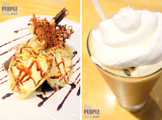 Tempura Ice Cream and Iced Vanilla Yuzu Latte (P130)