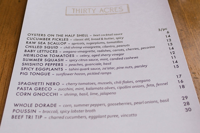 Menu at Thirty Acres