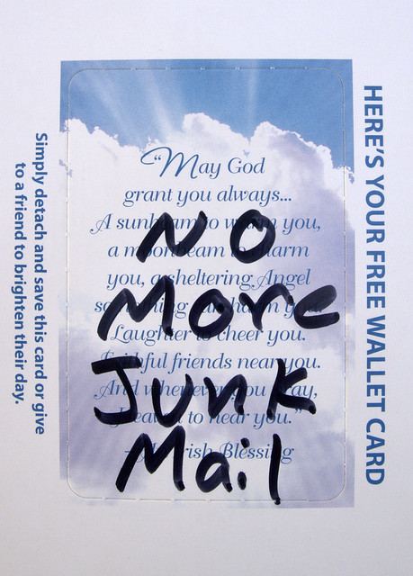 Junk mail prayer card