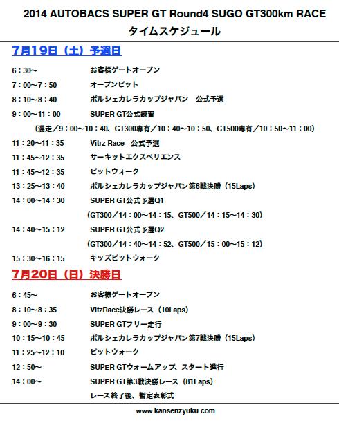 2014SGT第4戦SUGO(タイムスケジュール)