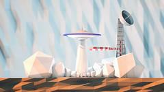 low poly ufo landing
