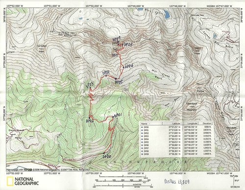 Dallas Peak Topo Map With Waypoints