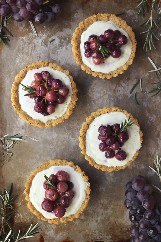 Roasted Grape and Rosemary Savory Goat Cheese Mini Tarts {Grain-Free}