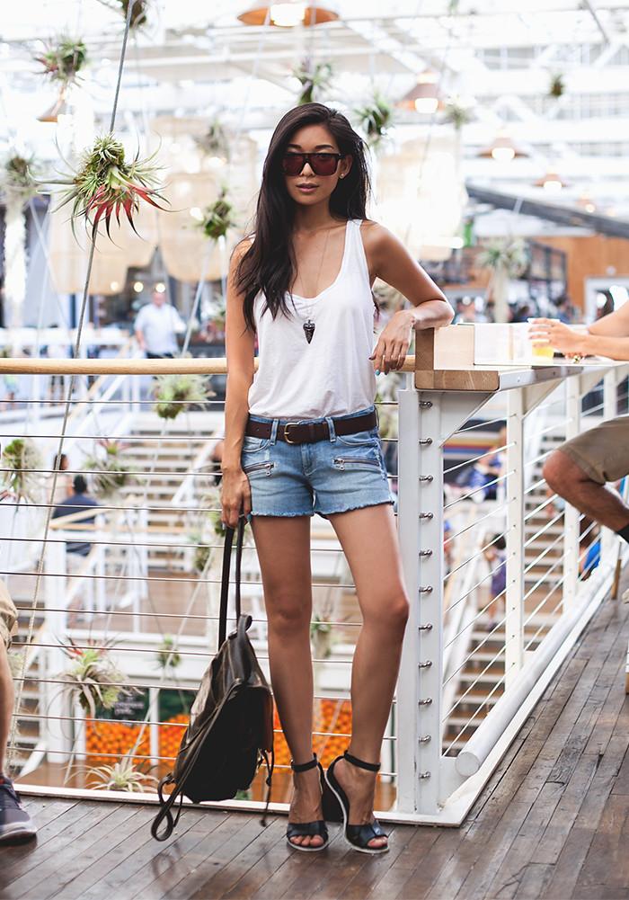 Stephanie Liu of Honey & Silk wearing Paige Denim, Sicky Sunglasses, Michael Stars