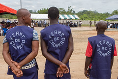 Prisoners at Saliakro Prison Farm in Côte d'Ivoire. Prisoners, who were selected on account that they are non-violent and condemned for short and medium term sentences, have a relative freedom to move within the gated farm. Credit: Marc-André Boisvert/IPS