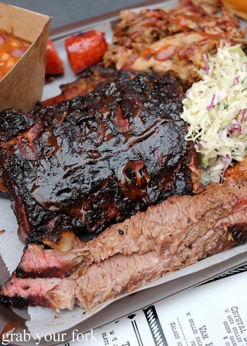 Beef brisket and pork ribs at the Oxford Tavern, Petersham